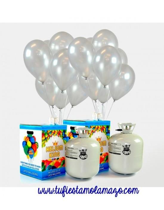 Pack 2 bombonas de helio maxi más 100 globos plata