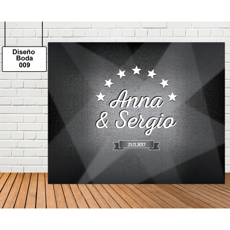 Diseño de photocall boda de corazón