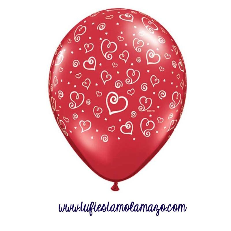 Globo de látex rojo ruby con divertidos corazones