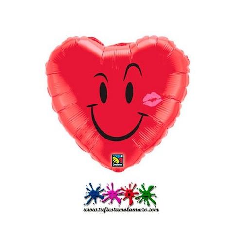 Globo de foil de corazón sonriente con beso
