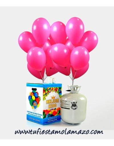 Helio globos rosas