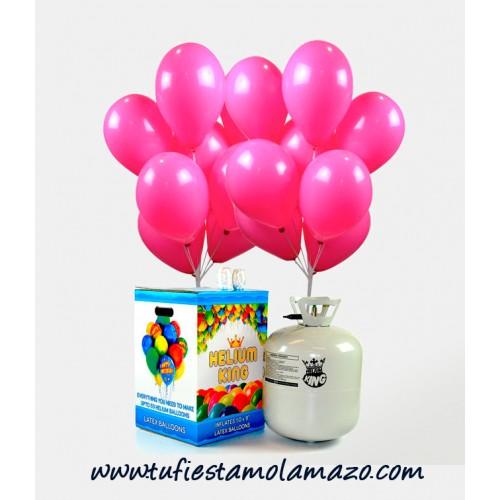 Pack de bombona de helio Maxi más 50 globos rosa
