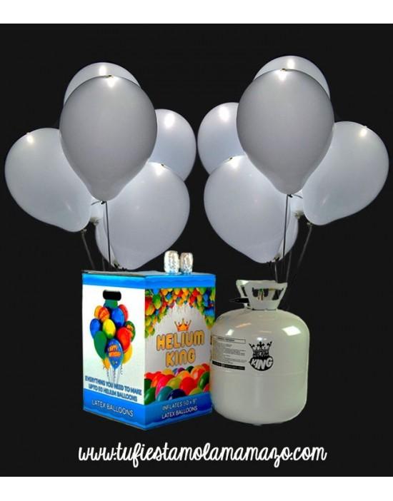 Pack de helio con 45 globos LED en Blancos