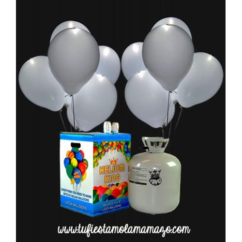 Pack de helio con 30 globos LED en Blancos