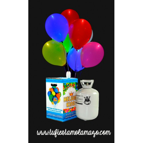 Pack de helio con 15 globos LED de colores