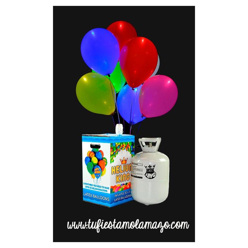 Pack de helio con 15 globos LED de colores