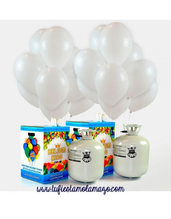 Pack de helio 100 globos blancos metalizados