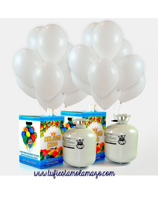 Pack 2 bombonas de helio grande más 100 globos blancos metalizados