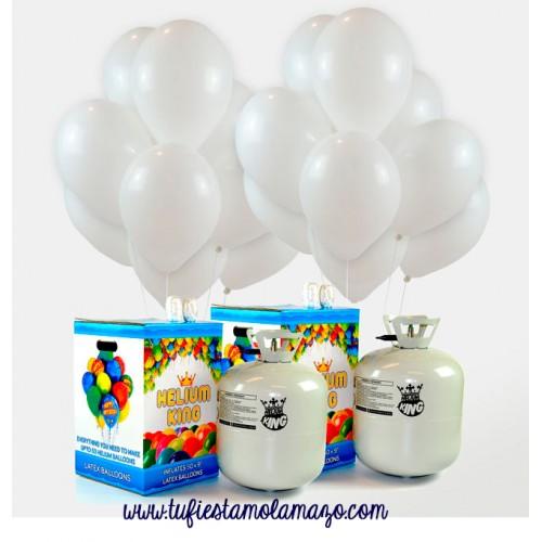 Pack Económico 2 Helio Maxi + 100 Globos Blancos Metalizados