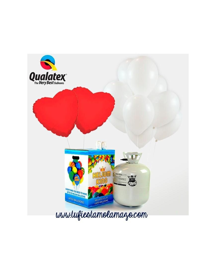 Pack especial Helio  con corazones blanco y rojos