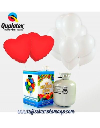 Pack de helio con 25 globos Blancos + Corazones Rojos