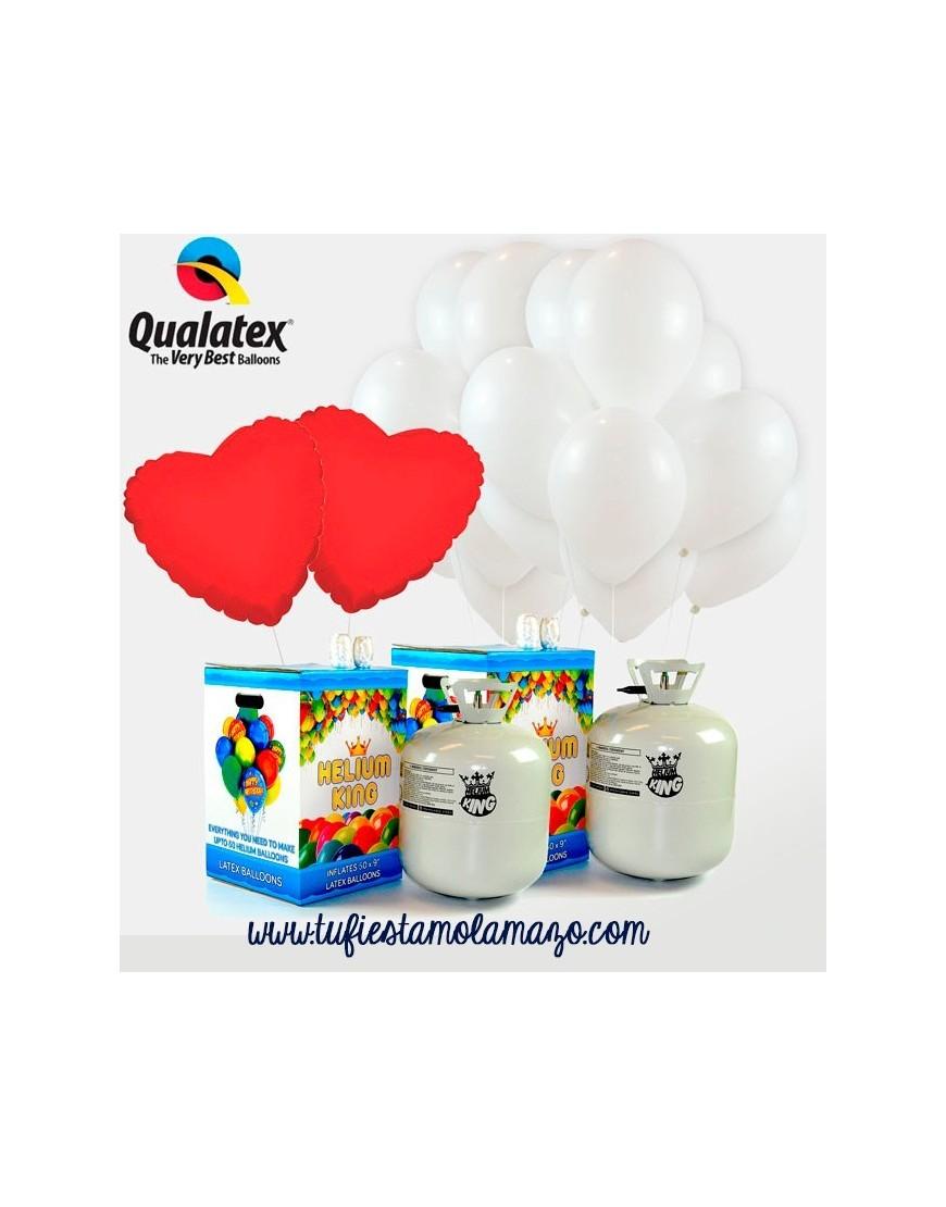 Pack para bodas 75 Qualatex Blanco + Corazones Rojos