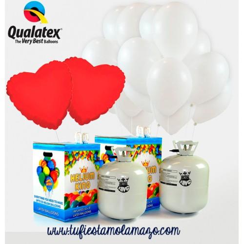 Pack de helio con 75 globos Blanco + Corazones Rojos