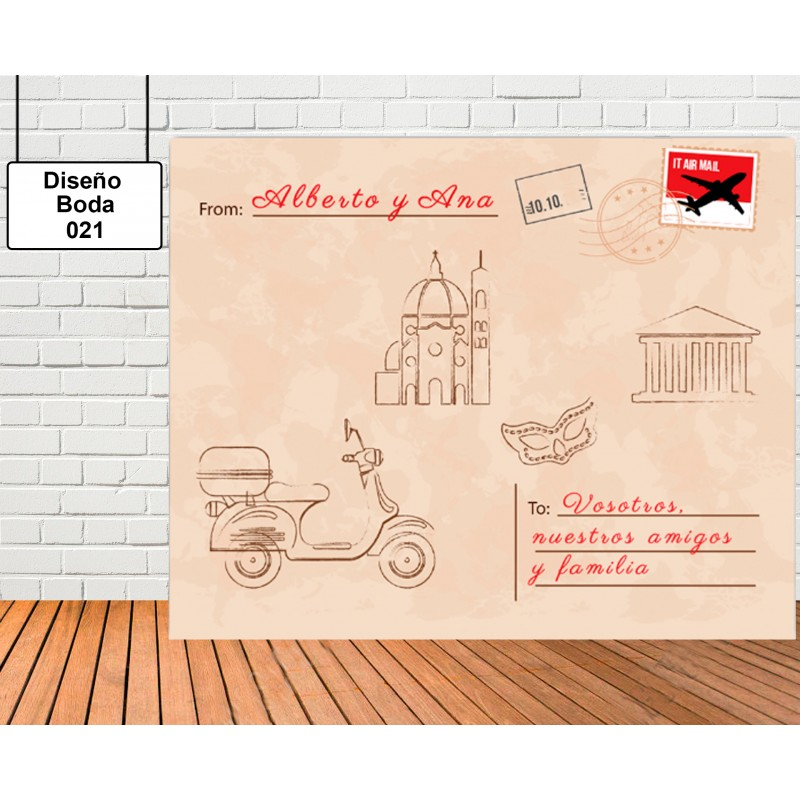 Diseño boda de postal