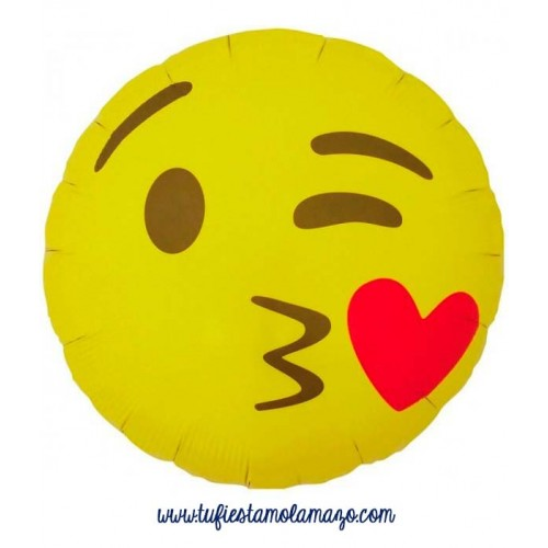 Globos de foil de emoji beso con corazón