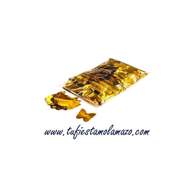 Confeti mariposa brillo oro