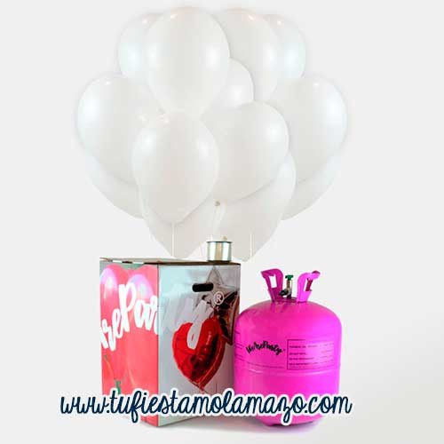 Pack de helio con 50 globos blancos