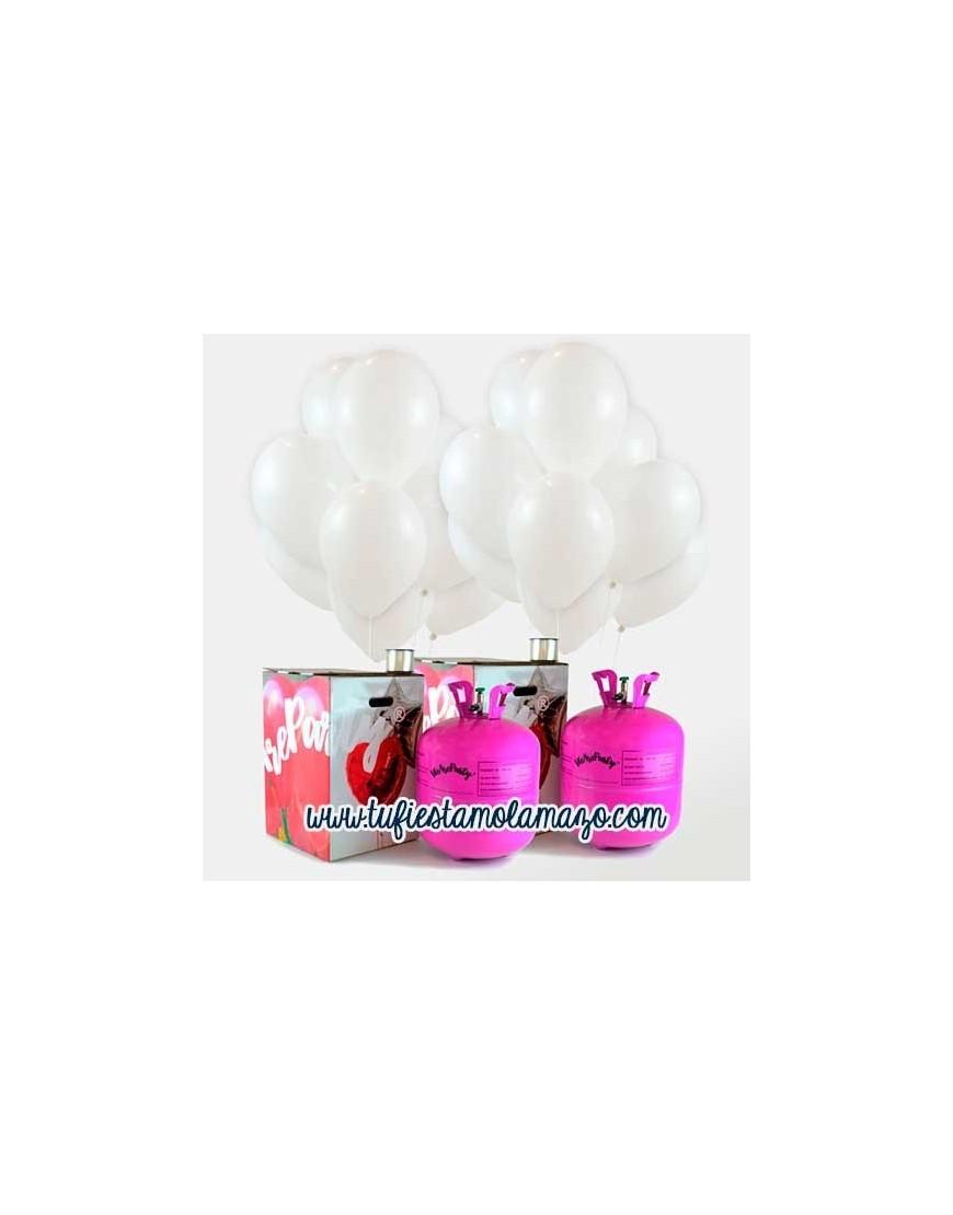 Pack de helio con 100 globos blancos