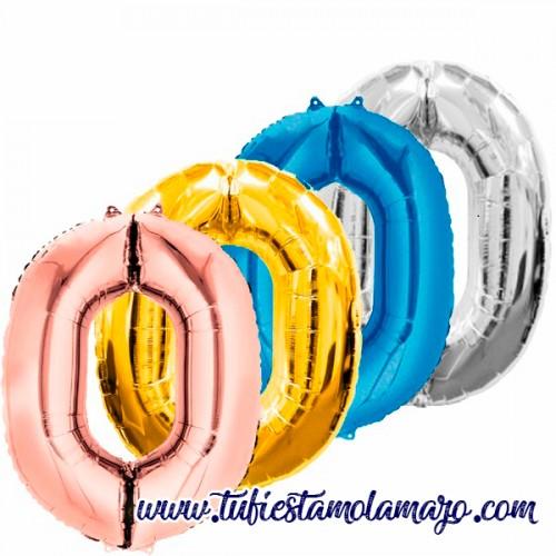 Globo de Foil Número 0 de 86cm de Colores Trendy