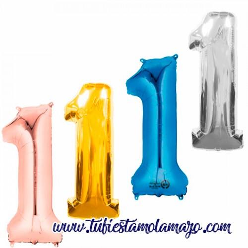 Globo Foil Número 1 de 86cm Colores Trendy