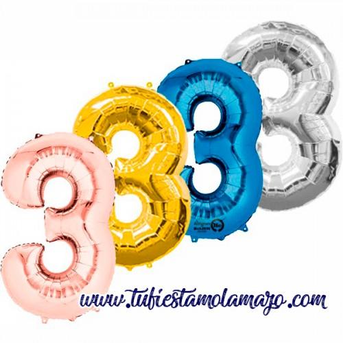 Globo Foil Número 3 de 86cm Colores Trendy