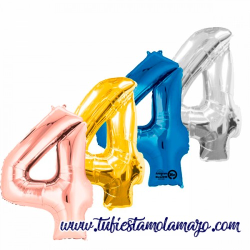 Globo Foil Número 4 de 86cm Colores Trendy