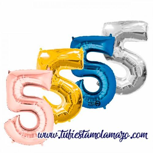 Globo Foil Número 5 de 86cm Colores Trendy