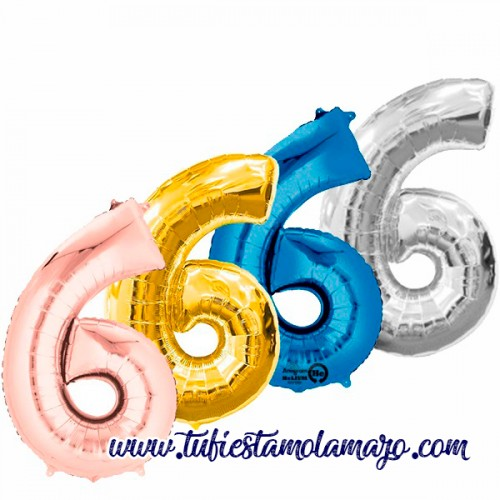 Globo Foil Número 6 de 86cm Colores Trendy