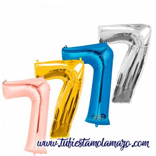 Globo Foil Número 7 de 86cm Colores Trendy