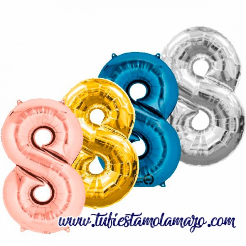 Globo Foil Número 8 de 86cm Colores Trendy