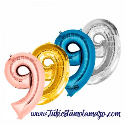 Globo Foil Número 9 de 86cm Colores Trendy