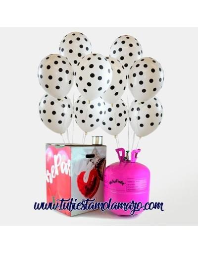 Pack Maxi + 50 Globos Blancos con Lunares