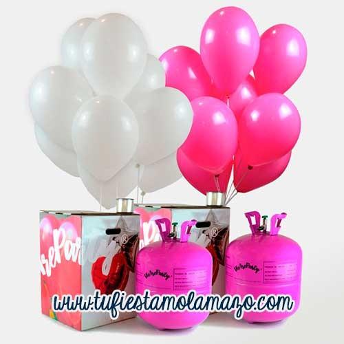 Pack 2 Bombonas de helio Maxi + 100 Globos Rosa&Blanco