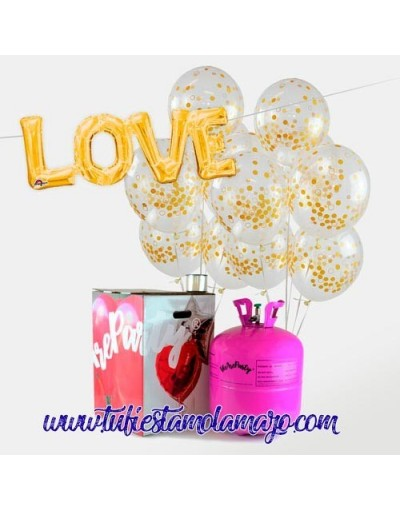 Bombona helio + 50 Globos Confeti + Love