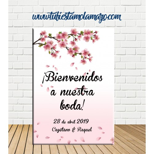 Cartel Bienvenida de Boda con flores
