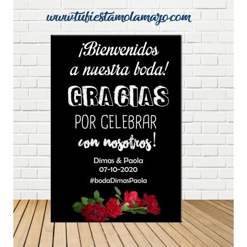 Cartel Bienvenida de Boda con rosas
