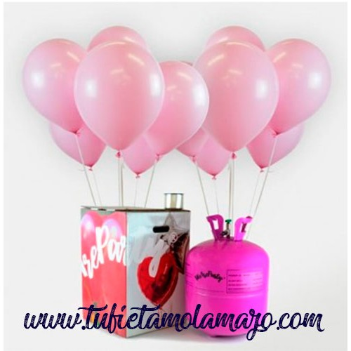 Pack Helio Maxi + 50 Globos Rosa Baby