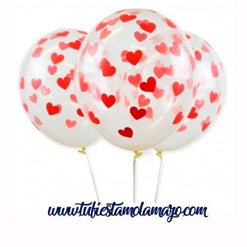 Bolsa 12 Globos DECO Látex 30cm Transparentes con confeti corazones