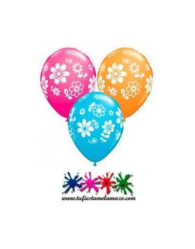Globo látex de colores con flores grandes