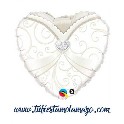 Globo corazón Vestido de boda 45 cm.
