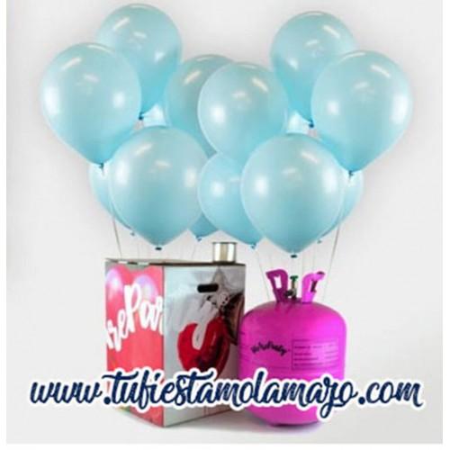 Pack Helio Maxi + 50 Globos Azul Baby