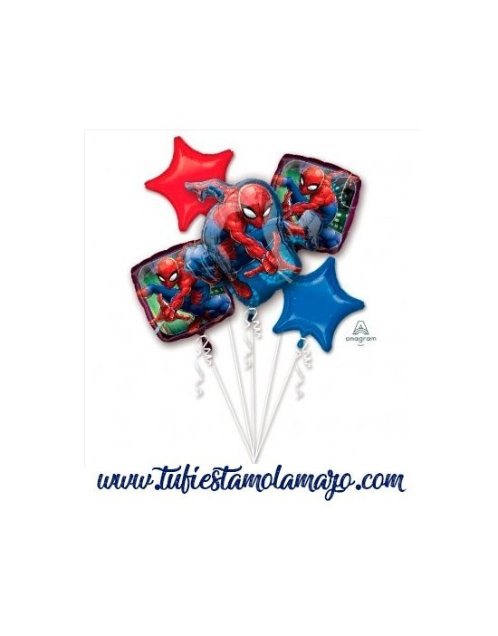 Bouquet 5 Globos Foil DECO de Spiderman Anagram®
