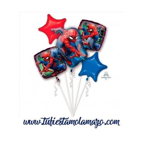 Bouquet 5 Globos Foil DECO de Spiderman Anagram®