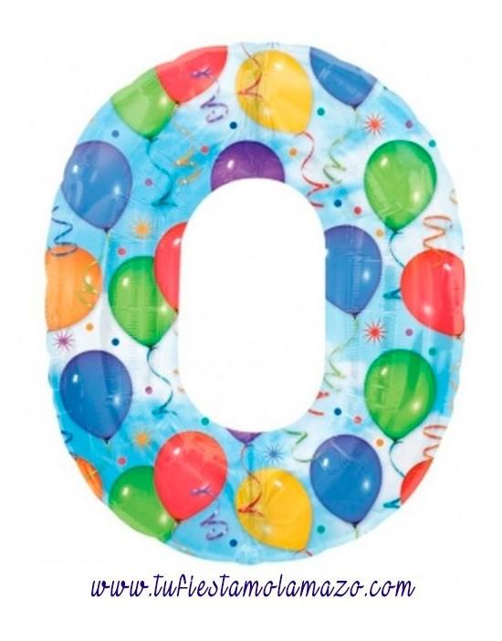 Globo de foil de número con globos de colores