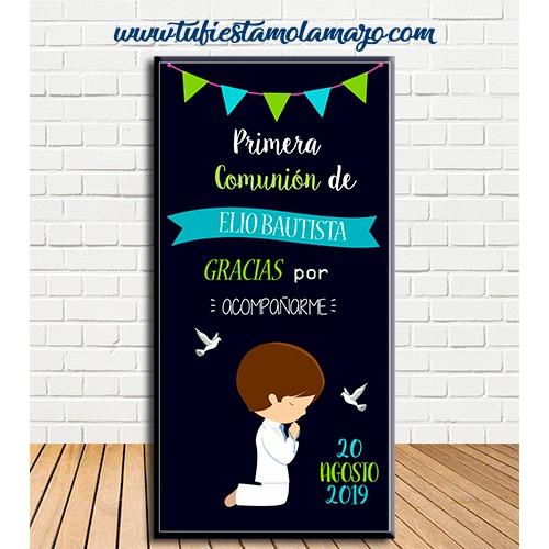Cartel Bienvenida de Comunión niño