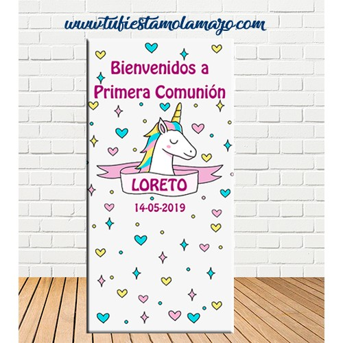 Cartel Bienvenida de Comunión de unicornio