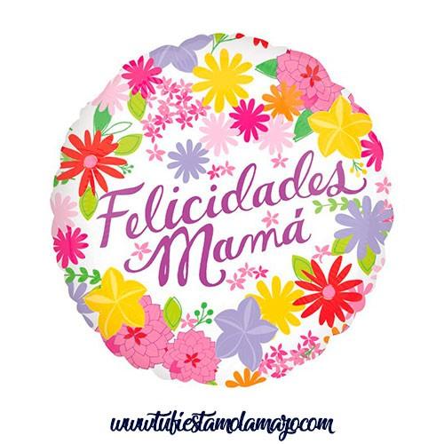 """Globos Foil 18"""" Felicidades Mama Flores"""