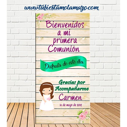 Cartel Bienvenida de Comunión de niña
