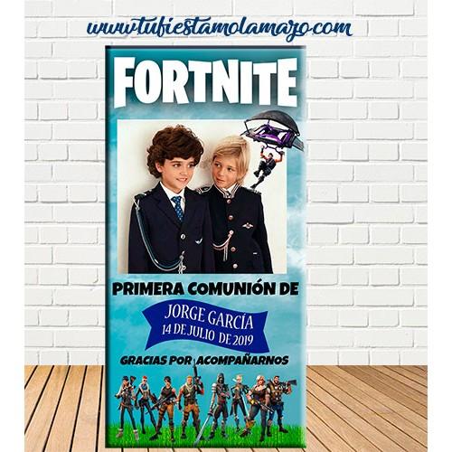Cartel Bienvenida de Comunión Fortnite
