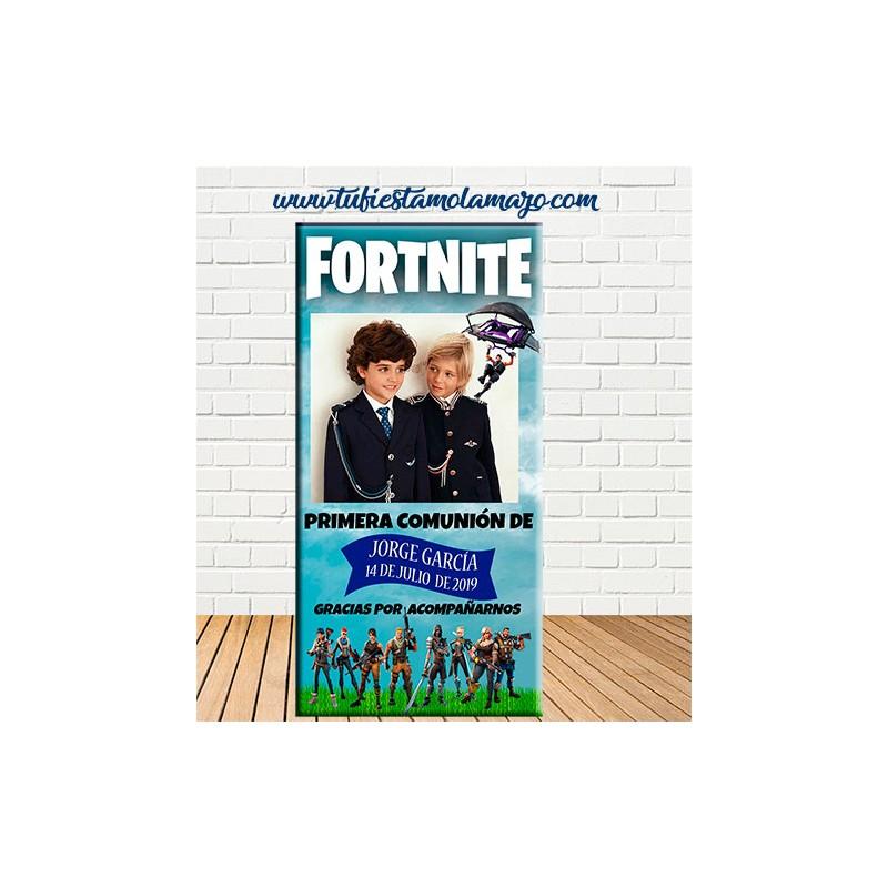 Cartel bienvenida comunión Fortnite